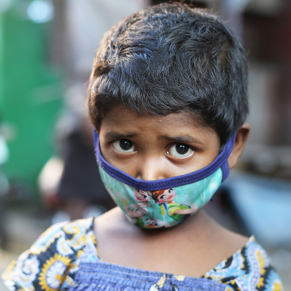 Child in India affected by Coronavirus outbreak.