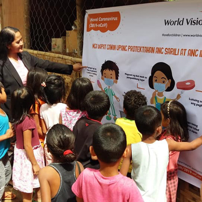 Children being educated about the COVID-19 Virus